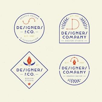 Plat grafisch ontwerperlogopakket