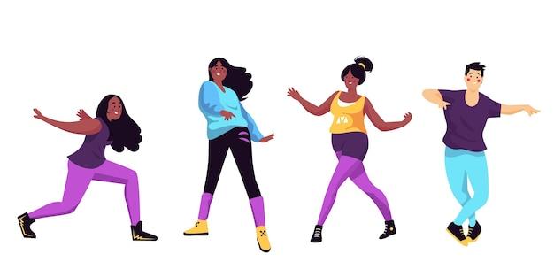 Plat handgetekende dansfitness-stappenpakket