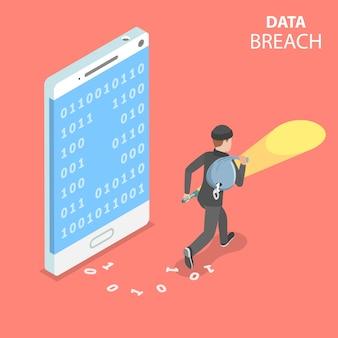 Plat isometrisch concept van datalek, het stelen van vertrouwelijke gegevens, cyberaanval.