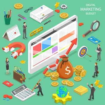 Plat isometrisch concept van digitale marketing budgetberekening, seo, ppc, roi.