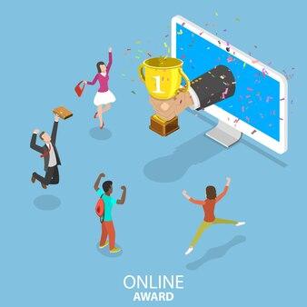 Plat isometrisch concept van online award, wedstrijdwinnaar, doelverwezenlijking, eerste plaatsoverwinning.