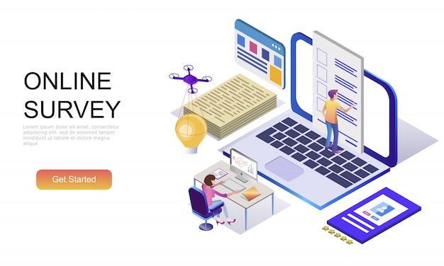Plat isometrisch concept van online enquête