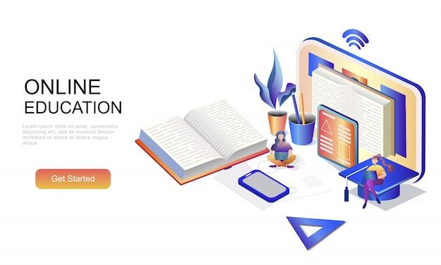 Plat isometrisch concept van online onderwijs