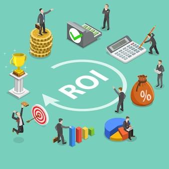 Plat isometrisch concept van rendement op investering