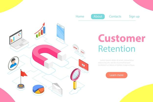 Plat isometrisch concept van retentiestrategie