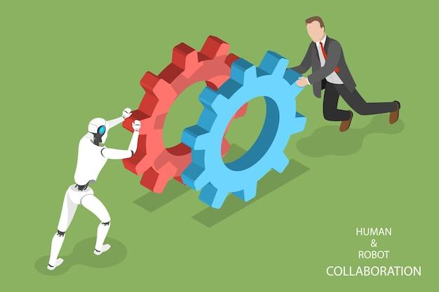 Plat isometrisch concept van robot en menselijke samenwerkingsillustratie