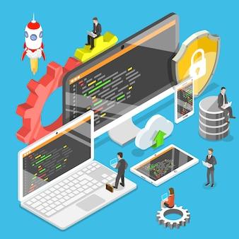 Plat isometrisch concept van softwareontwikkeling illustratie