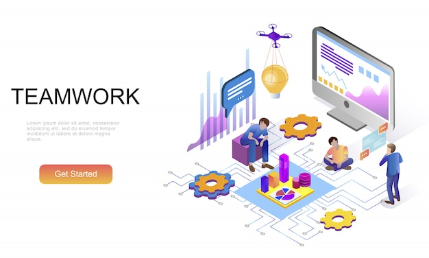 Plat isometrisch concept van teamwerk