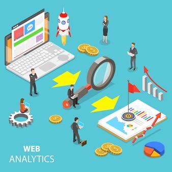 Plat isometrisch concept van webanalyse, websitestatistiek, seo-auditrapport, marketingstrategie.