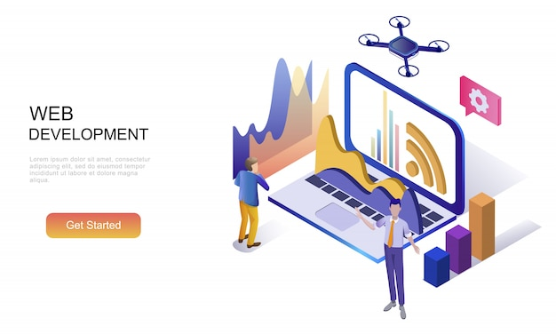 Plat isometrisch concept van webontwikkeling