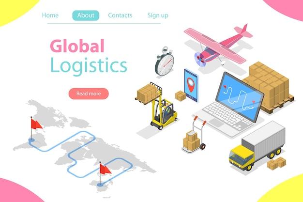 Plat isometrisch concept van wereldwijde logistiek, wereldwijde vrachtverzending, snelle levering.
