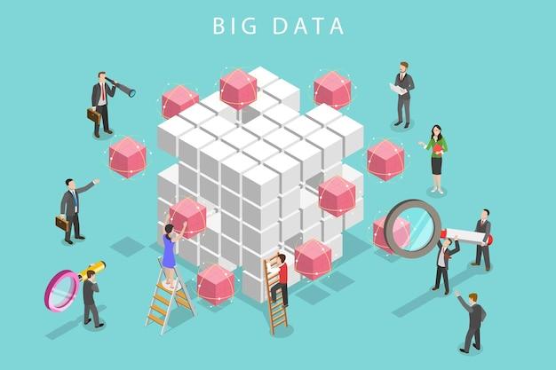 Plat isometrisch vectorconcept van big data-analyse, databaseonderzoek, geavanceerde analyses.