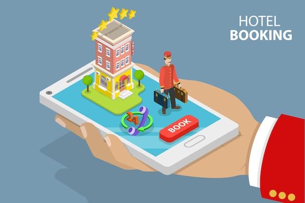 Plat isometrisch vectorconcept van het online boeken van hotelzoekopdrachten