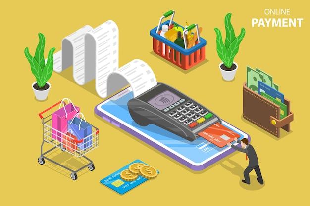 Plat isometrisch vectorconcept van ontvangst, online betaling, geldoverdracht, mobiele portemonnee.