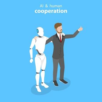 Plat isometrisch vectorconcept van robot en menselijke samenwerking