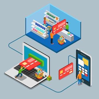 Plat isometrische betalingstype concept. man betaalt grote creditcard supermarkt laptop mobiel online.