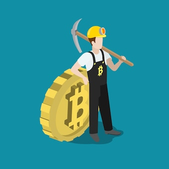 Plat isometrische bitcoin mining mijnwerker