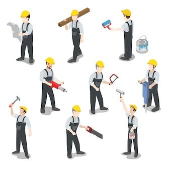 Plat isometrische bouwer bouwvakker icon set