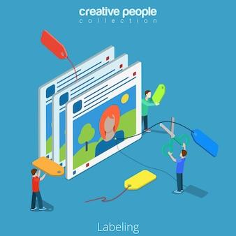 Plat isometrische casual mensen tag foto op sociale media app interface scherm etikettering, tagging isometrie internettechnologie concept.