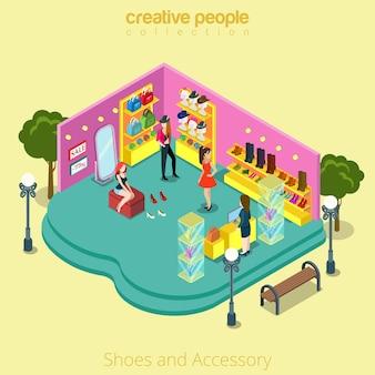 Plat isometrische casual vrouwelijke klant in modeboetiek, schoenen, accessoire winkel retail business interieur, vitrine, kassier, passend isometrie concept.