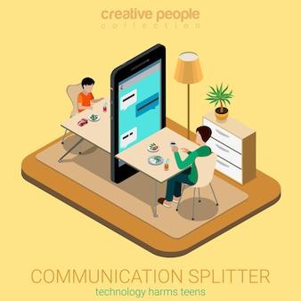 Plat isometrische communicatie splitter sociaal ouderschap