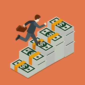 Plat isometrische groeiende rijkdom concept
