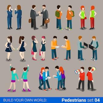 Plat isometrische hoge kwaliteit stad voetgangers icon set mensen uit het bedrijfsleven casual tieners paren bouw uw eigen wereld web infographic collectie