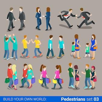 Plat isometrische hoge kwaliteit stad voetgangers pictogrammenset business mensen casual tieners paren uitvoering boodschappentassen bouwen uw eigen wereld web infographics collectie