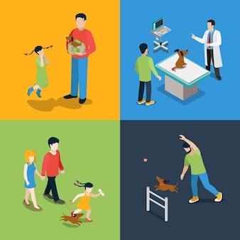 Plat isometrische hoogwaardige hond wandelen veterinaire pictogramserie. moeder, vader, dochter, puppy, aanwezig, dierenarts, checkup, bezoekende walker, opleiding. bouw je eigen wereldcollectie.
