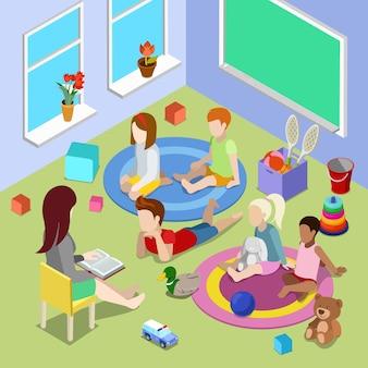 Plat isometrische illustratie met leraar leesboek voor kinderen in peuterspeelzaal kinderdagverblijf interieur