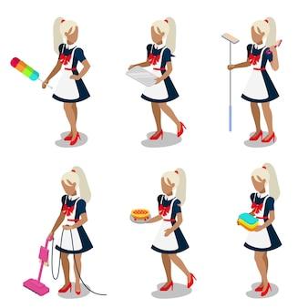 Plat isometrische jonge donkere vrouwelijke dienstmeisje dienstmeisje kamermeisje schoonmaakster