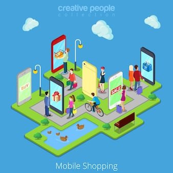 Plat isometrische mobiele e-commerce elektronische zaken online mobiel winkelen
