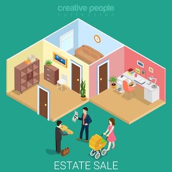 Plat isometrische nieuwe gezinswoning verkocht onroerend goed