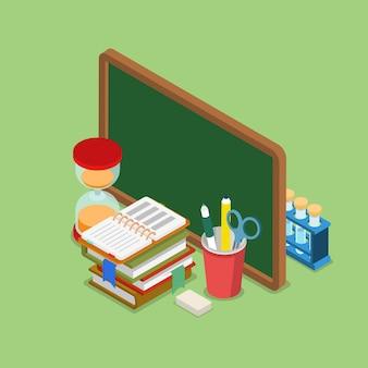Plat isometrische onderwijs kennis school college universiteit concept