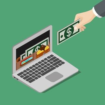 Plat isometrische online portemonnee voor mobiel internet