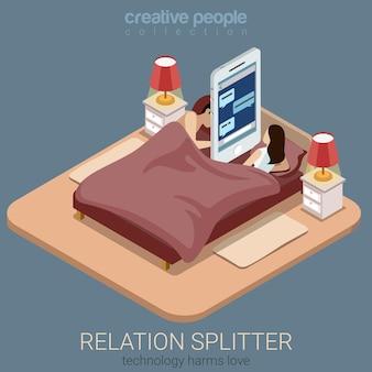 Plat isometrische relatie splitter sociaal concept