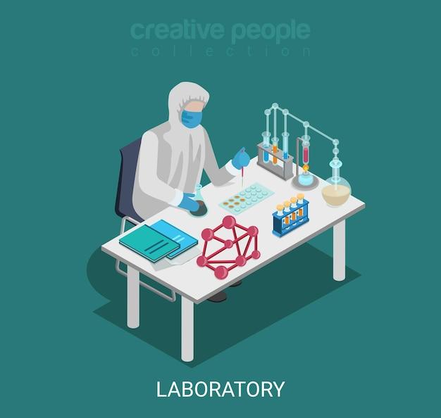 Plat isometrische science lab experiment onderzoek farmacie chemische stof