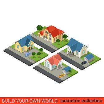 Plat isometrische set van familie landhuis tuin achtertuin auto garage bouwsteen infographic concept bouw je eigen infographics wereld collectie