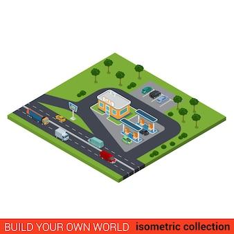 Plat isometrische snelweg gas petroleum benzine bijvullen station bouwsteen op zwaar verkeer weg infographic concept bouw je eigen infographics wereld collectie
