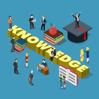 Plat isometrische stijl kennis onderwijs opleiding afstuderen
