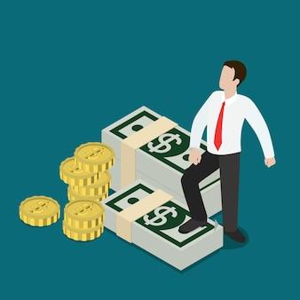 Plat isometrische welvaart bedrijfsconcept