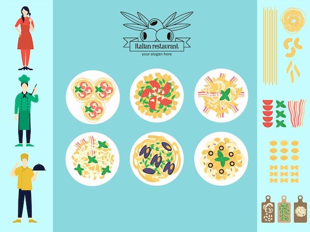 Plat italiaans restaurant infographic concept