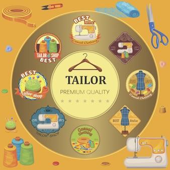 Plat kleermakersgereedschap ronde compositie met kleurrijke maatwerk emblemen naaimachine schaar stof knopen hanger vingerhoed draad tondeuse en klossen