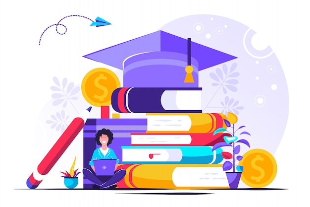 Plat kleine studie financieren personen concept