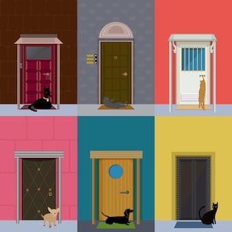 Plat kleurrijk gebouw exterieur set