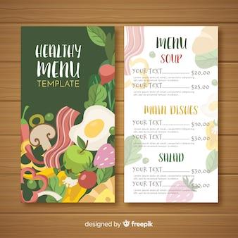 Plat kleurrijk gezond voedselmenu