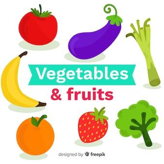 Plat kleurrijk gezond voedselpakket
