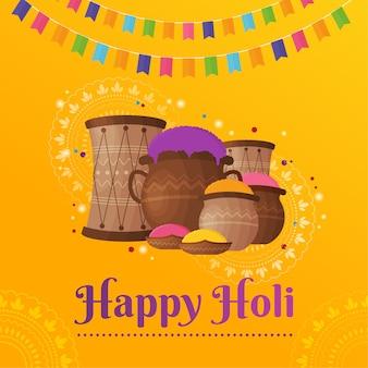 Plat kleurrijk holi gulal festival