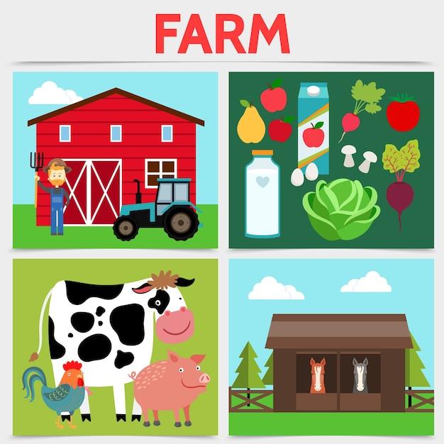 Plat kleurrijk landbouw vierkant concept
