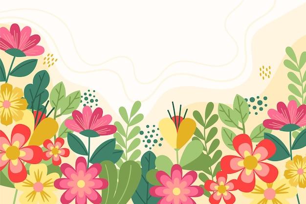 Plat kleurrijk voorjaar behang